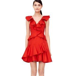 Rebecca Taylor Cotton Ruffle Dress Candy Apple
